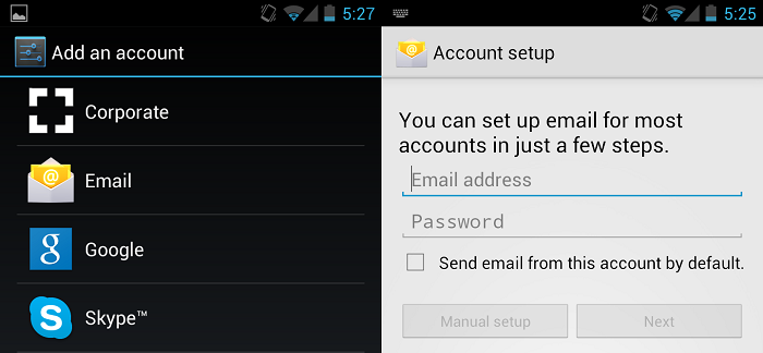 setting up cuatom email account in android