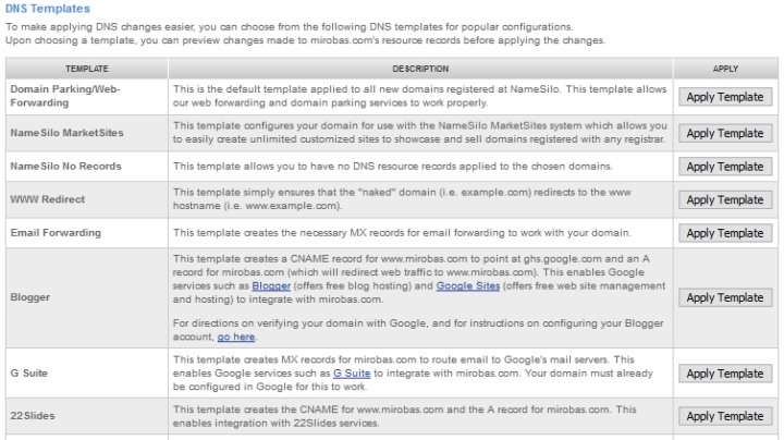 namesilo DNS tool and templates