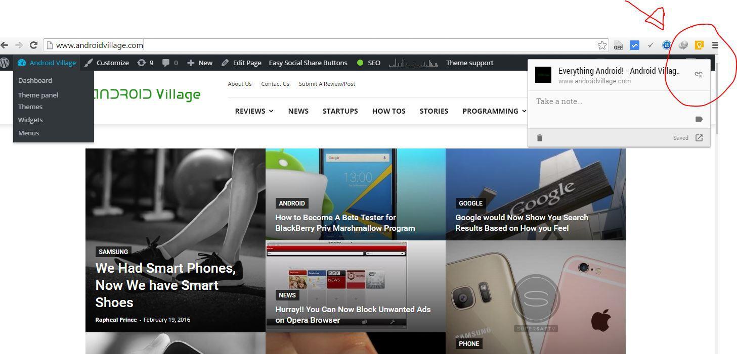 Google Keep Chrome/App Extension