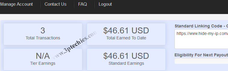 earning report for VPN services promotion