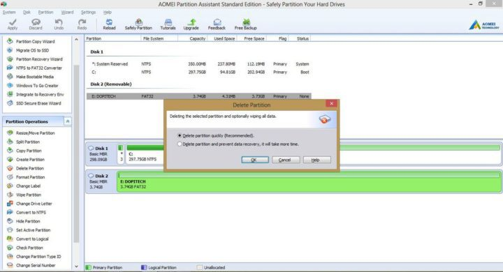 AOMEI Partition Assistant data eraser function