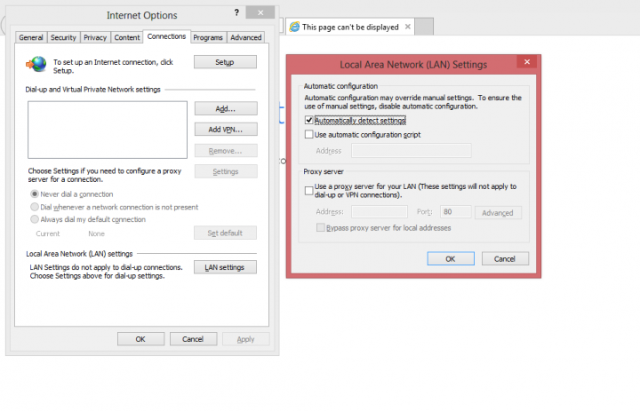setting up proxy on IE/Edge browser