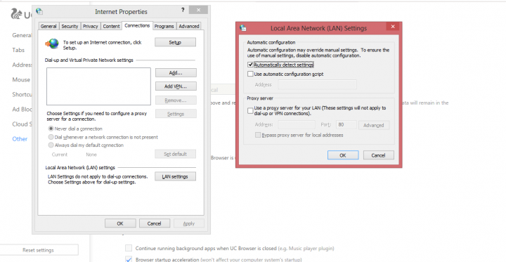setting up a proxy server on UC browser