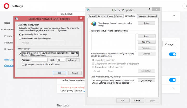 how to Set a proxy server in Opera