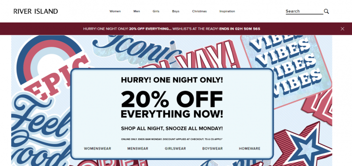 River Island online shopping site