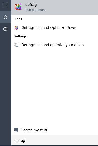 defualt defrag tool