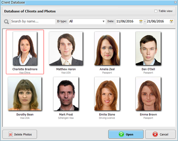 Passport Photo Maker client database