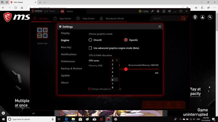 MSI app player features