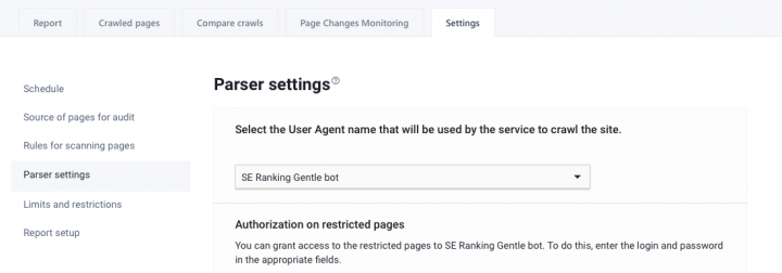 parser settings
