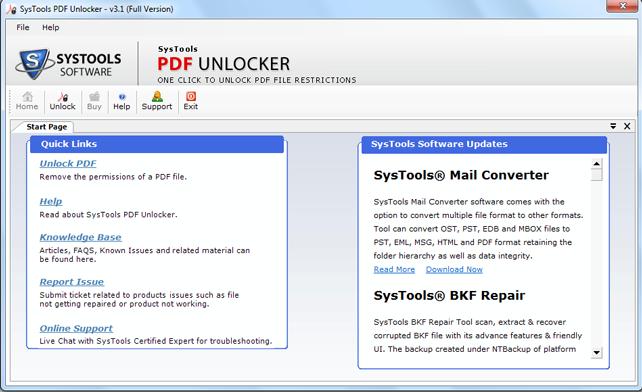 SysTools PDF Unlocker Software
